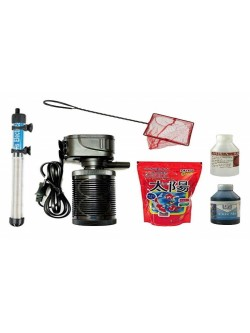 Aquarium Filter air Pump Accessories Beginners Complete kit Internal Filter with 100 watt Fully Automatic Heater Fish Food net 6 in 1 Complete All Set for Fish Tank (6 in 1)